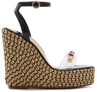Sophia Webster Denim Gem Espadrille Platform Wedge Sandals