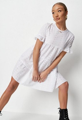 Missguided Frill Sleeve Broderie Smock Dress