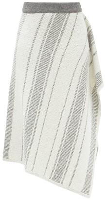 Vika Gazinskaya Asymmetric Hand-knitted Skirt - Grey White
