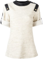 Loewe buttoned straps detail T-shirt - women - Cotton/Linen/Flax/Leather/Wool - 38
