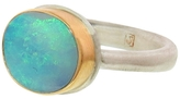 Jamie Joseph Small Oval Australian Black Opal Ring
