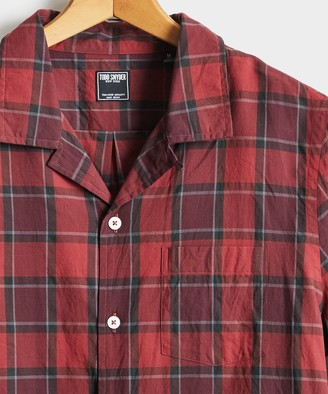 Todd Snyder Camp Collar Long Sleeve Shirt in Red Plaid