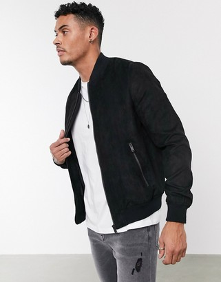 Bershka faux suede bomber jacket in black