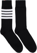 Thom Browne Black 4-Bar Mid-Calf Socks