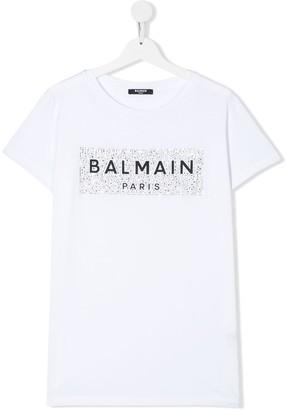 Balmain Kids TEEN embellished logo T-shirt