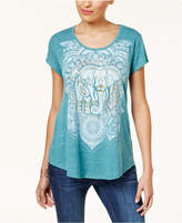 Style&Co. Style & Co Graphic Shirttail Hem T-Shirt, Created For Macy's
