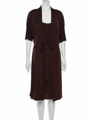 Hermes Scoop Neck Midi Length Dress Brown