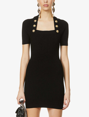 Balmain Button-embellished stretch-knitted mini dress