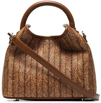 Elleme Baozi raffia and leather tote bag