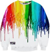 Pizoff Unisex Fashion Long Sleeve Crew Neck Elastic Waist Colorful Paint Splatter 3D Print Pullover Sweatshirts -XXL