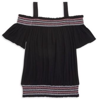 Design History Little Girl's & Girl's Cold-Shoulder Smocked Top
