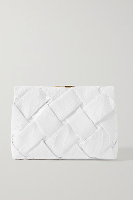 Nancy Gonzalez Woven Crocodile Clutch - White