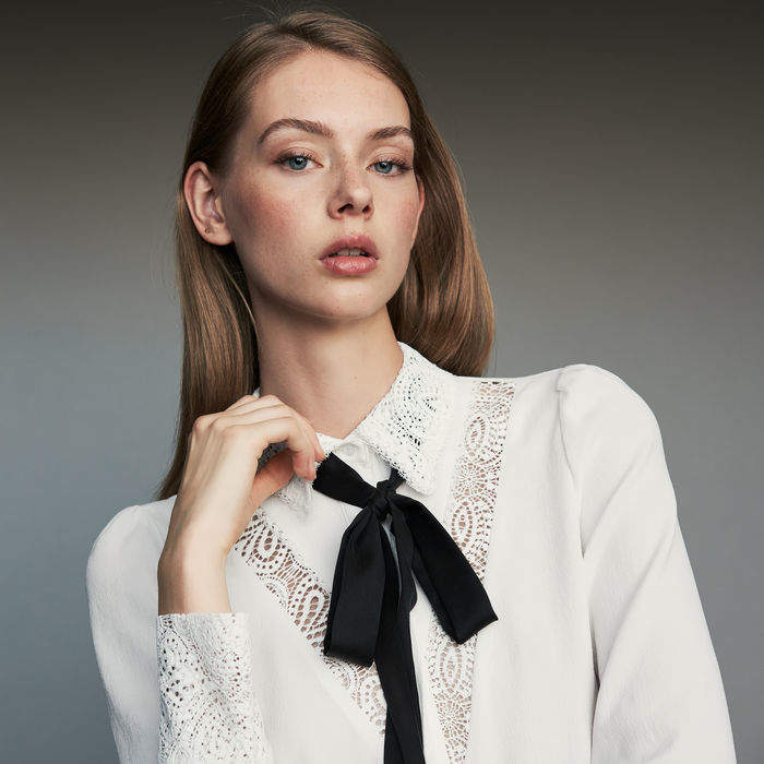 Maje Lavalier shirt with lace