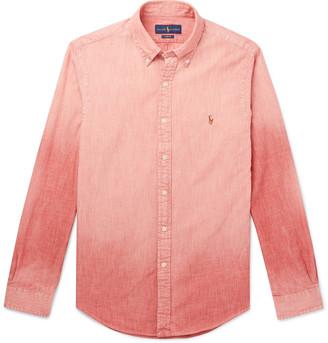 Polo Ralph Lauren Slim-fit Button-down Collar Degrade Linen-chambray Shirt - Red