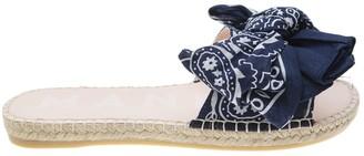 Manebi Bandana Flat Sandals With Bow Blue