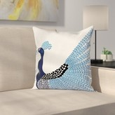 """Exotic Peacock Feather Cushion Pillow Cover East Urban Home Size: 16"""" x 16"""""""