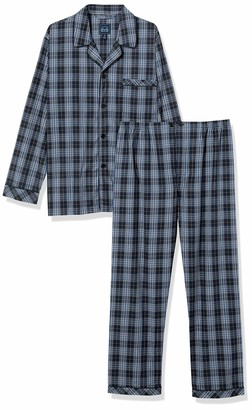 Majestic International Men's Ease Into Summer Woven Easy Care Long Sleeve Pajama Set