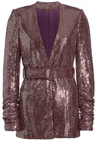 Badgley Mischka Sequin Belted Jacket