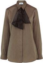 Isa Arfen Brown Striped Knot Cuff Shirt
