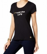 Michael Kors Black Women's Size XS Luxe For Life Graphic Tee Shirt