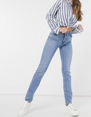 Levi's 724 high rise straight leg jeans in mid wash blue