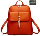 Donalworld Woen PU Leather School Backpack Capus Retro Shoulder Bag