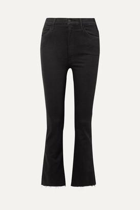Mother The Hustler Cropped Frayed High-rise Flared Jeans - Black