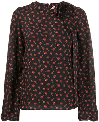 No.21 floral long-sleeve blouse