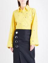 Marques Almeida Stud-embellished cotton-poplin shirt