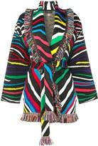Alanui zebra-pattern belted cardi-coat