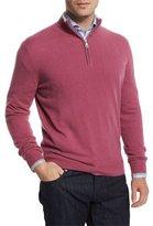 Neiman Marcus Cashmere Half-Zip Pullover Sweater, Red