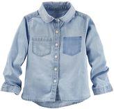 Osh Kosh Girls 4-8 Shadow Pocket Chambray Button-Down Shirt