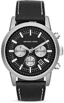 Michael Kors Scout Chronograph Watch in Black Leather, 43mm