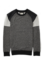Brave Soul Panelled Crew Neck Sweatshirt With PU Detail