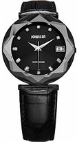 Jowissa Women's J5.225.XL Crystal Black PVD Stainless Steel Black Leather Date Watch