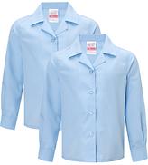 John Lewis Girls' Easy Care Open Neck Long Sleeve School Blouse, Pack of 2