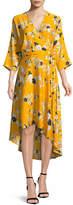 Diane von Furstenberg Long-Sleeve Asymmetric-Hem Floral-Print Silk Wrap Dress