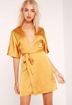 Missguided Silky Kimono Dress Yellow