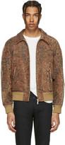 Saint Laurent Tan Tapestry Teddy Bomber Jacket