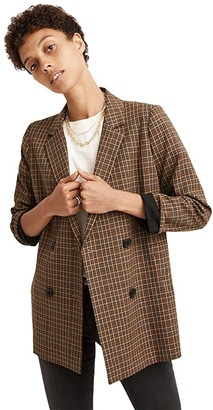 Madewell Caldwell Double-Breasted Blazer in Mandell Plaid (Grove Houndstooth Seed Khaki) Women's Jacket