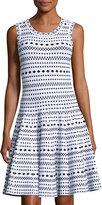 John & Jenn Fit & Flare Intarsia Patterned Dress, White