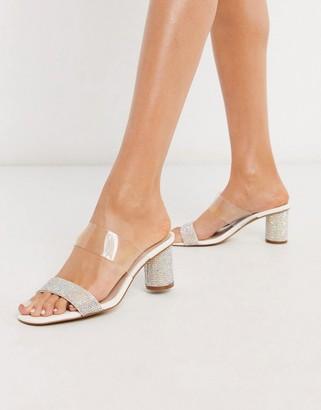 Aldo Baleste kitten heel mule sandal in rhinestone