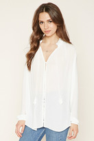 Forever 21 FOREVER 21+ Contemporary Button-Front Tasseled Blouse