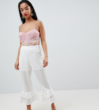 Lost Ink Petite Broderie Trousers With Tiered Peplum Hem