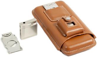 Bey-Berk Bey Berk Leather 3-Cigar Holder With Cutter