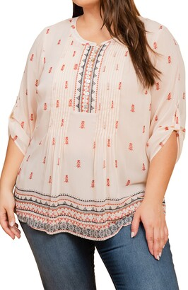 Daniel Rainn Border Print Peasant Blouse