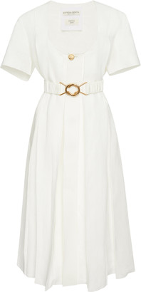Bottega Veneta Pleated Linen Midi Dress