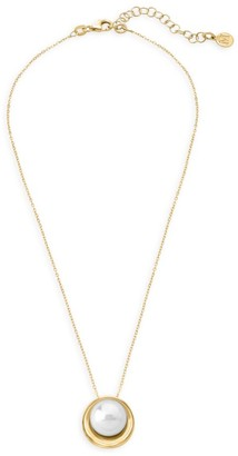 Majorica 18K Goldplated Sterling Silver & Organic Man-Made Pearl Pendant Necklace