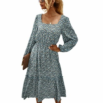 Koitniecer Womens Long Sleeve Floral Print Midi Dress Casual Square Neck Vintage Dresses Swing A line Loose Dresses (Green M)