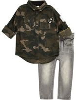 River Island Mini boys khaki camo shirt jeans set